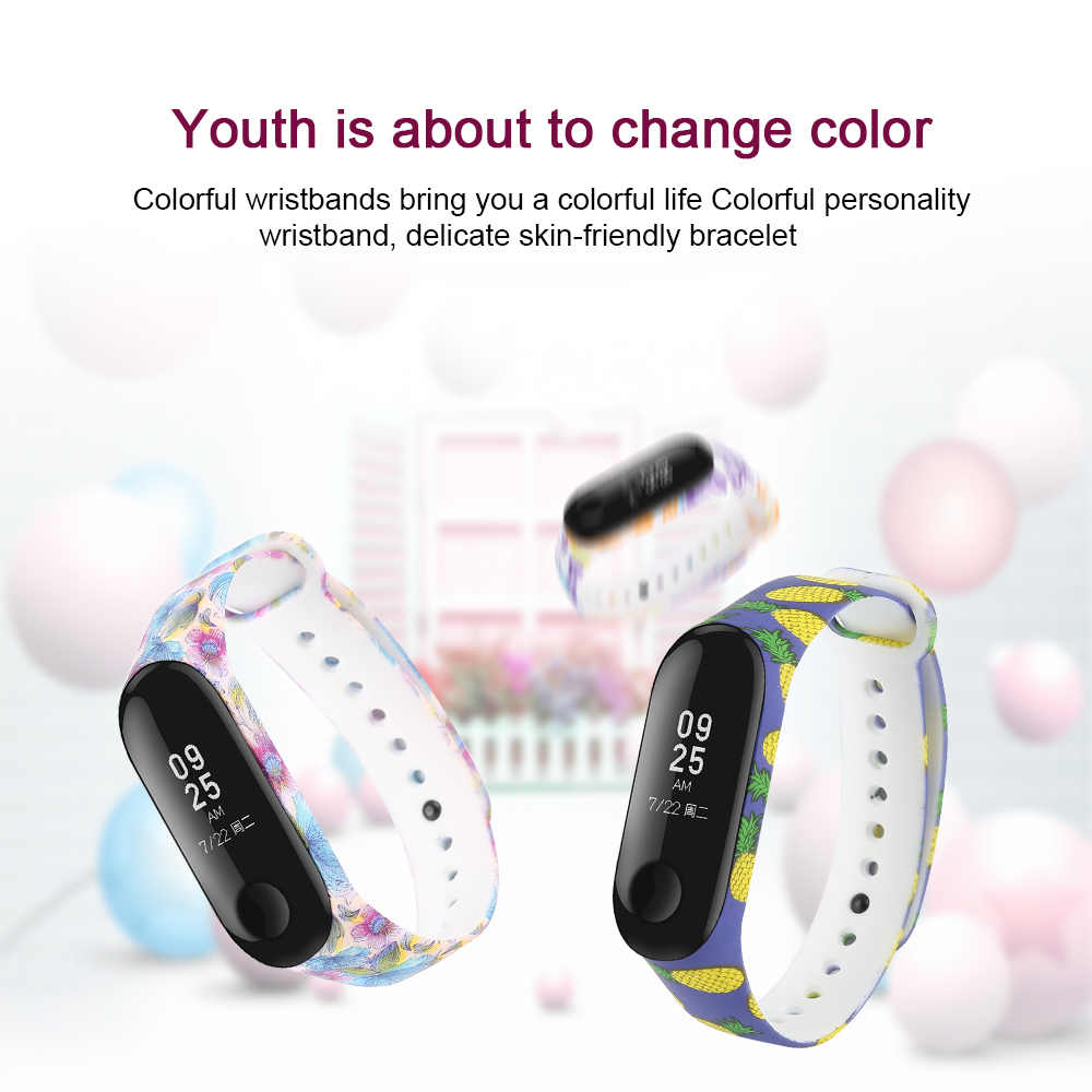 Printed Silicone Alternative Strap for Xiaomi Mi Band 2 smart Wristband replacement Wrist band Belt