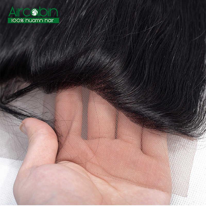 Оригинальные прямые волосы AirCabin, пучки с фронтальным закрытием, бразильские человеческие волосы, не Реми, фронтальные волосы с пучками для наращивания