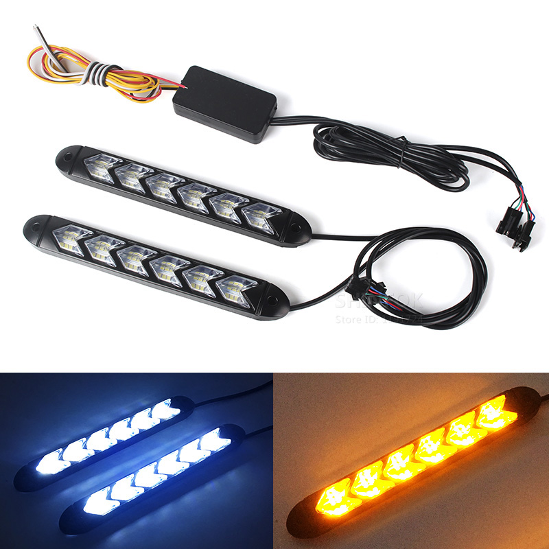 9LED White//Amber Switchback Flexible Flow Turn Signal Arrow Flasher DRL Light