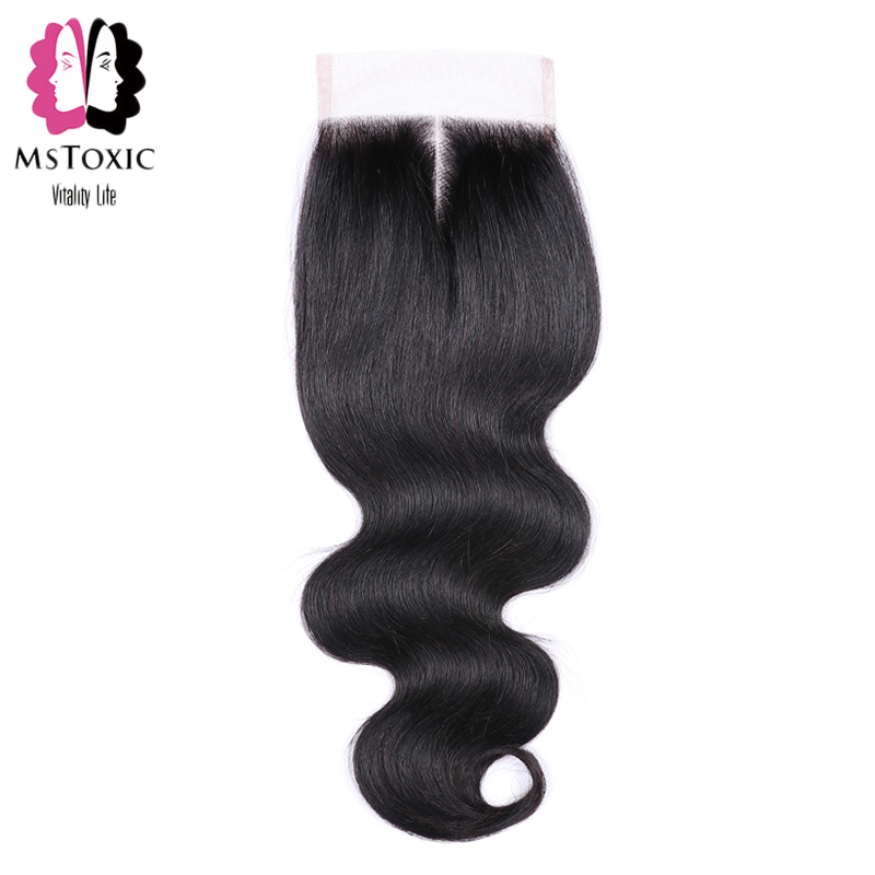 Mstoxic Lace Closure Brazilian Body Wave Non Remy Hair Natural Color Human Hair Middle Part 4x 4 Free Shipping