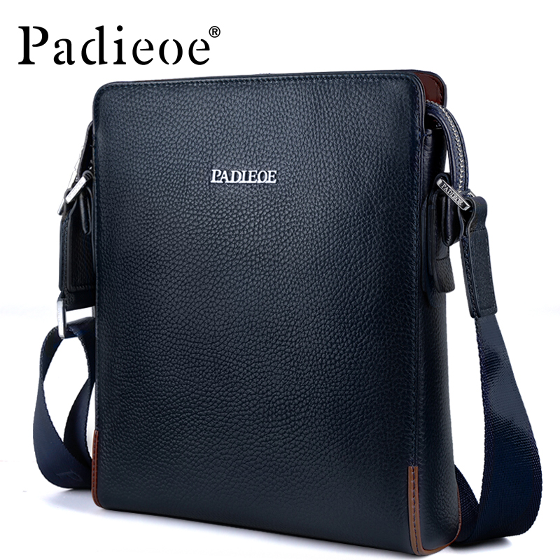 Padieoe Genuine Leather Men's Satchel Bag Casual Crossbody Bag for Travel Fashion Shoulder Bag Male Leather Men Messenger Bag padieoe genuine leather business men s messenger bag casual shoulder crossbody bag for male famous brand fashion travel men bags
