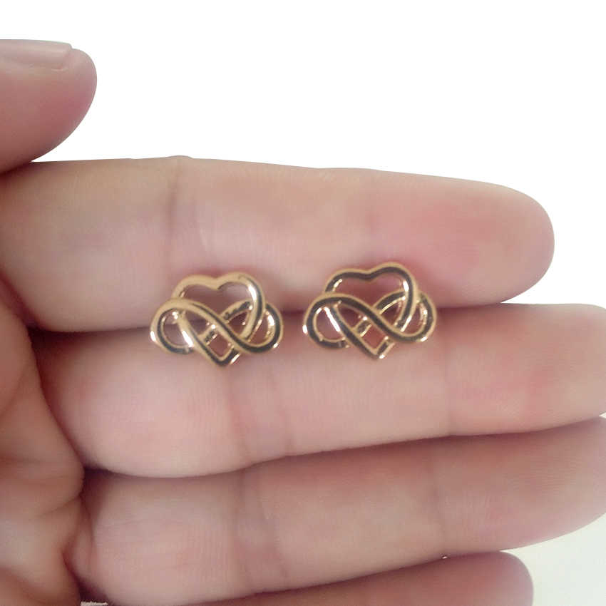 CHENGXUN 1pair New Fashion Geometric Earring Celtic Heart with Infinite Knot Stud Women Ear Jewelry Love Wedding Party Piercing