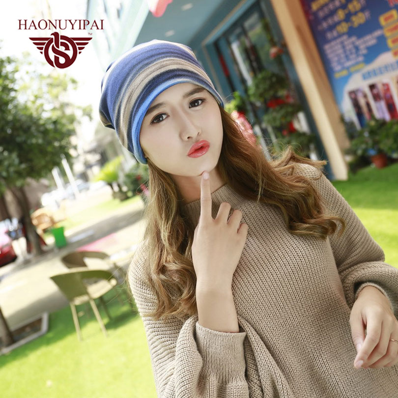 Hot Sale Fashion Colorful Striped Men And Women Cap Cover Headgear Double Warm Beanies Autumn Winter Scarf Knitted Hat Gorra skullies hot sale female tide leather braids knitted cap autumn and winter women s curling ear warmers headgear 1866784