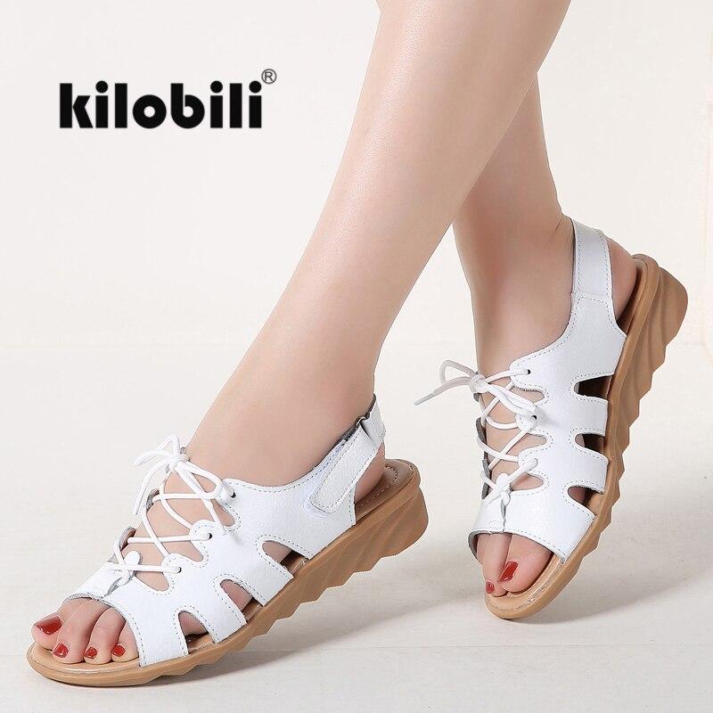 kilobili 2018 New Summer Women Sandals Shoes Flat Lace up Comfortable Leather Sandals Lady Shoes Woman