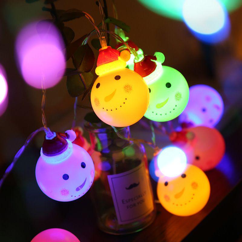 Hot Christmas Light Strings 1.5 Meter 10 Light Battery Snowman Head Lantern Christmas Tree Santa Claus Decoration Light Strings Pendant & Drop Ornaments Festive & Party Supplies