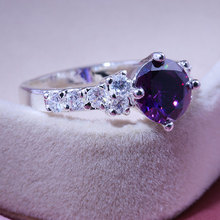 8MM Round Purple/Pink AAA Zircon Rings For Women White Gold Color February Birthstone Ring Vintage Fashion Jewelry Dropshipping