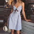 2017 Summer Women Striped Dress Sexy Spaghetti Strap Hollow Out A Line Dresses Ladies V Neck Backless Beach Vestidos Hot Sale