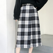 Autumn Winter Hairy Plaid Womens Skirt New Vintage England Style Skirts Woman Fashion 2019 Straight High Waist