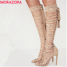 2016 Plus size 34-43 new sexy knee high gladiator sandals high heels lace up suede summer boots thin heels party dance shoes
