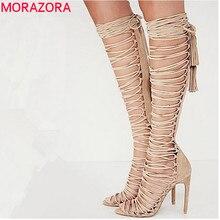 Morazora plus size 34-43 new sexy joelho sandálias gladiador alta calcanhares rendas até botas de camurça verão saltos finos sapatos de festa sapatos de dança