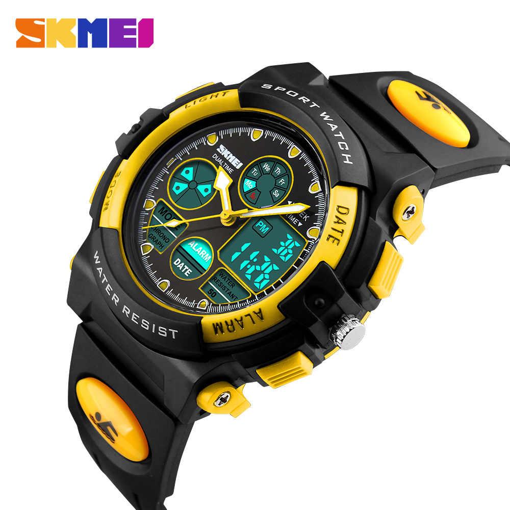 SKMEI детские часы спортивные военные модные детские цифровые кварцевые светодиодный часы для девочек и мальчиков водонепроницаемые Мультяшные наручные часы
