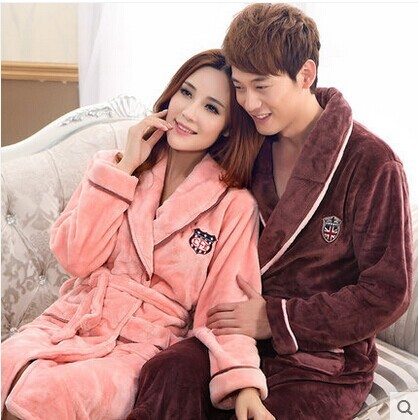Hot Autumn Winter Pajamas Women Fashion Long Sleeve Flannel Bath Robe Thicken Warm Coupels Home Sleepwear With Belt WJ2366