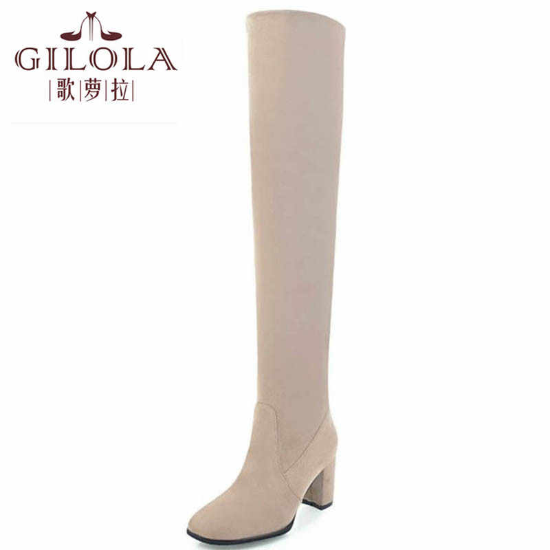 GILOLA 7cm high heels sexy faux suede snow women boots shoes woman over the knee boots thick heels warm black #Y0716168F