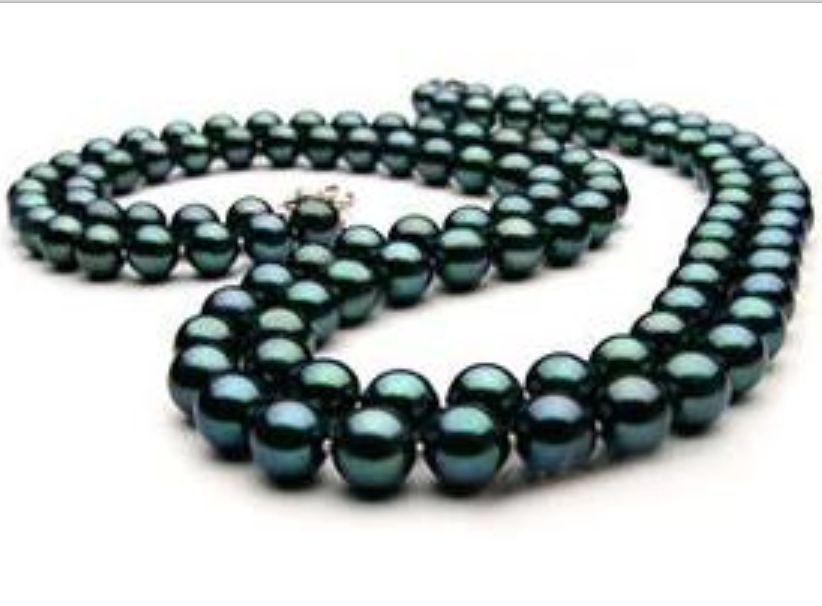 Collier de perles vertes de paon de tahiti naturelle 8-9mm 32nch
