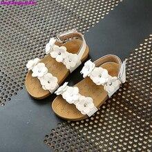 HaoChengJiaDe New Summer Children Soft Girls Sandals Princess Beautiful Flower Shoes Kids Flat Fashion Girls Sandals Shoes 21-30