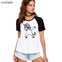 Dabbing Unicorn Cotton T Shirt Summer Raglan Fashion Women Dab Dance Hipster T Shirts Top Hiphop