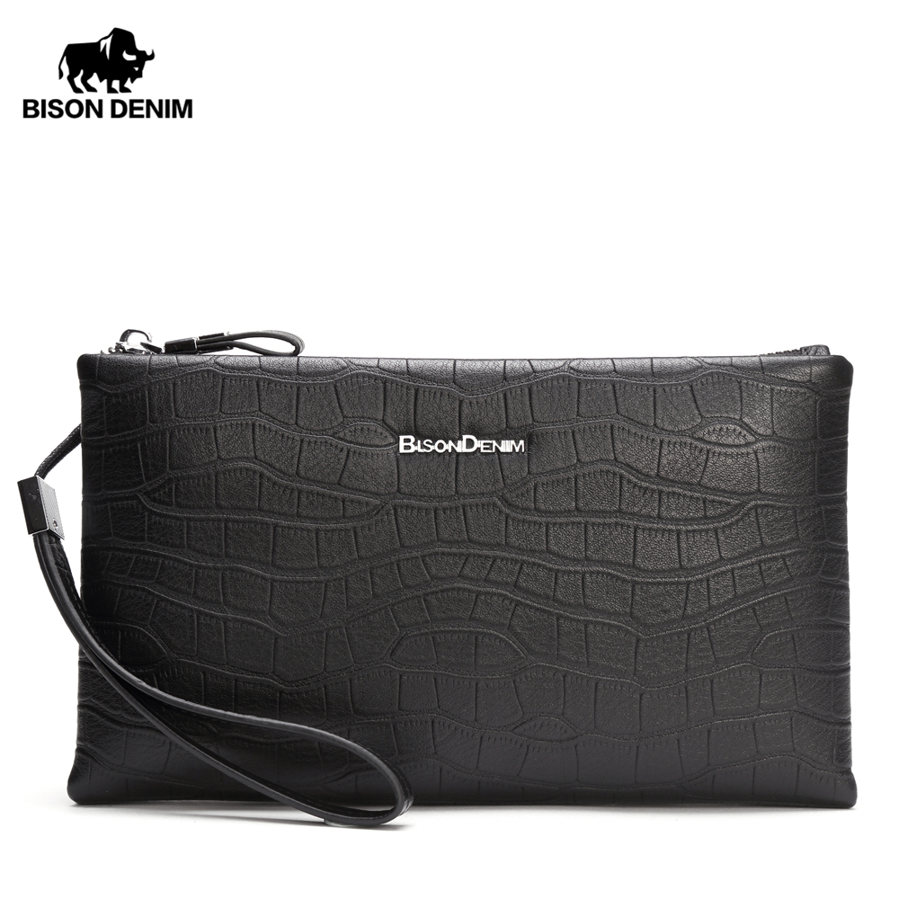 BISON DENIM Luxury Men Wallet Genuine Leather Clutch Phone Purse Alligator Pattern Zipper Card Holder Wallet Male bags N8199BISON DENIM Luxury Men Wallet Genuine Leather Clutch Phone Purse Alligator Pattern Zipper Card Holder Wallet Male bags N8199
