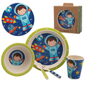5 unids/set baby feeding set con tenedores tazón placa cuchara cup vajilla vajilla set de fibra de bambú de los niños libre de bpa respetuoso del medio ambiente