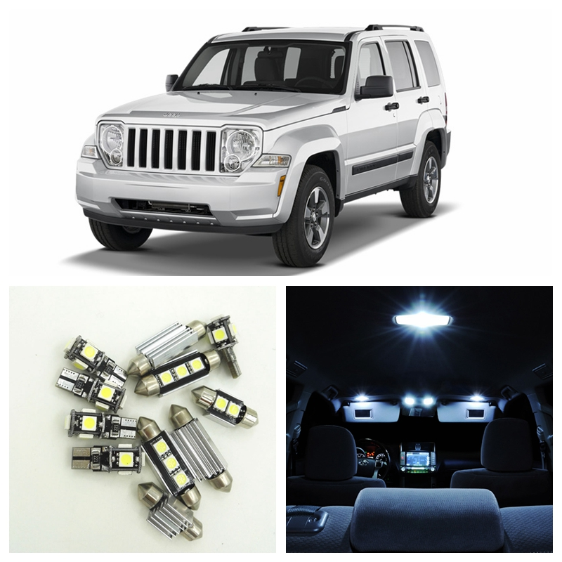 13pcs White Canbus Car LED Light Bulbs Interior Package Kit For 2004-2012 Jeep Liberty Map Dome Trunk License Plate Lamp 15pcs white canbus error free car led light bulbs interior package kit for 2002 2003 2004 audi a4 b6 map glove box door lamp