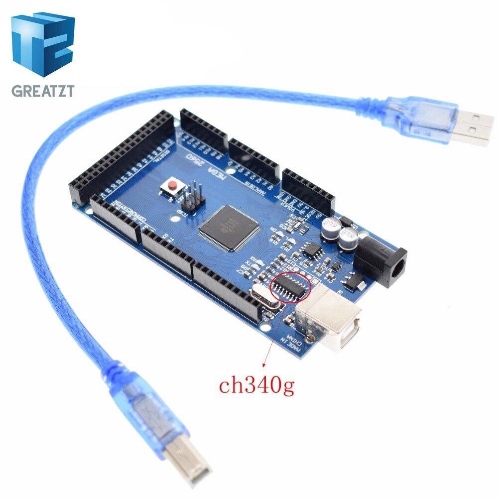 GREATZT 1set/lot MEGA 2560 R3 (ATmega2560-16AU CH340G) AVR USB board + USB cable (ATMEGA2560 ) for arduino MEGA2560