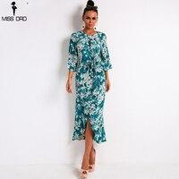 Missord 2018 Sexy O Neck Long Sleeve Print Dresses Belt Summer Beach Dress Seaside Elegant Long