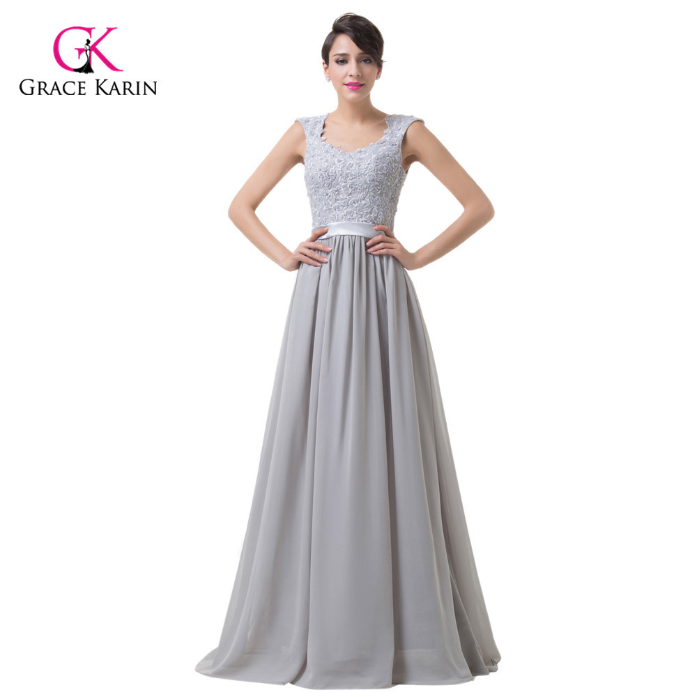 Chiffon Long Evening Dresses Grace Karin Lace Grey 2017 New ...