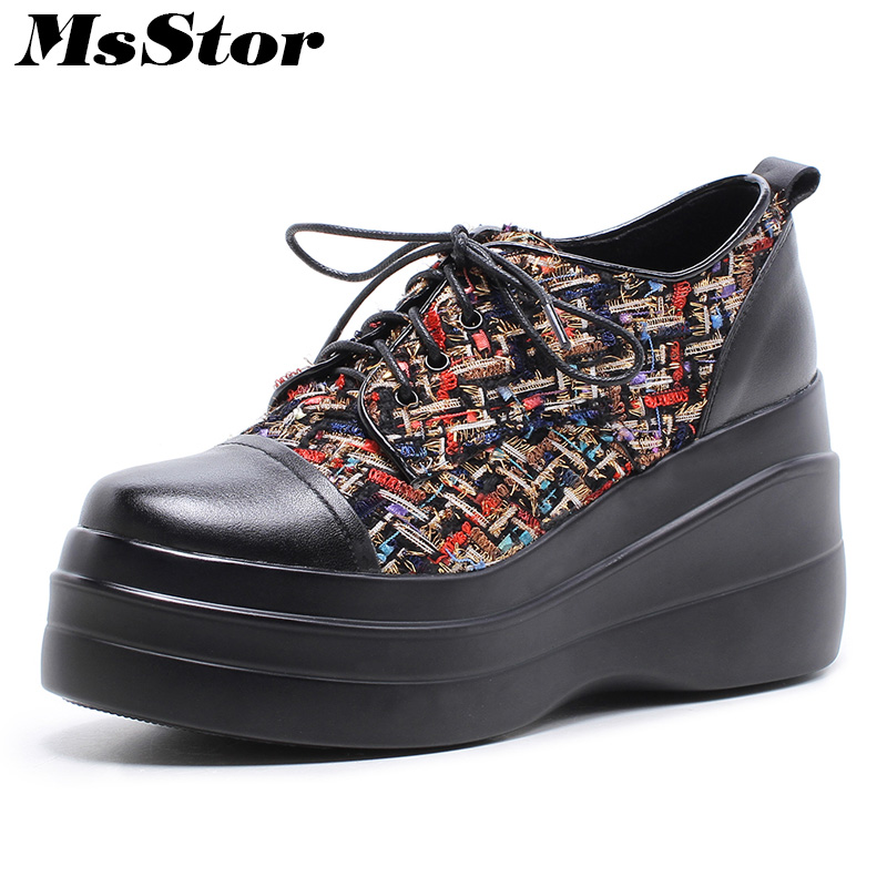 MsStor Round Toe Mixed Colors Women Flats Fashion Patchwork Ladies Flat Shoes 2018 Cross tied Platform Women Brand Flat Shoes пуф patchwork colors