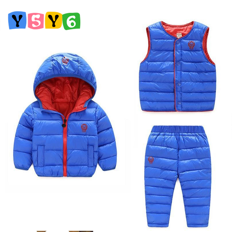 New 2018 Winter Baby Girls Boys Clothes Sets Children Down Cotton-padded Coat+Vest+Pants Kids Infant Warm Outdoot Suits 1-6 year toddler girls hello kitty clothes set winter thick warm clothes plus velvet coat pants rabbi kids infant sport suits w133