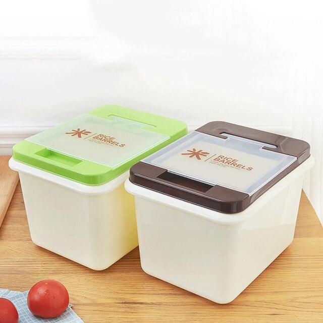 Plastic Dried Food Grain Rice Cereal Flour Bean Container Storage Box  Moistureproof Sealed Box Kitchen Organizer