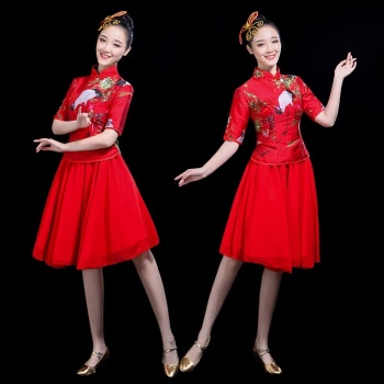 Stage dance wear Chinese folk dance costume clothing national ancient fan dance traditional Chinese dance costumes AA4600