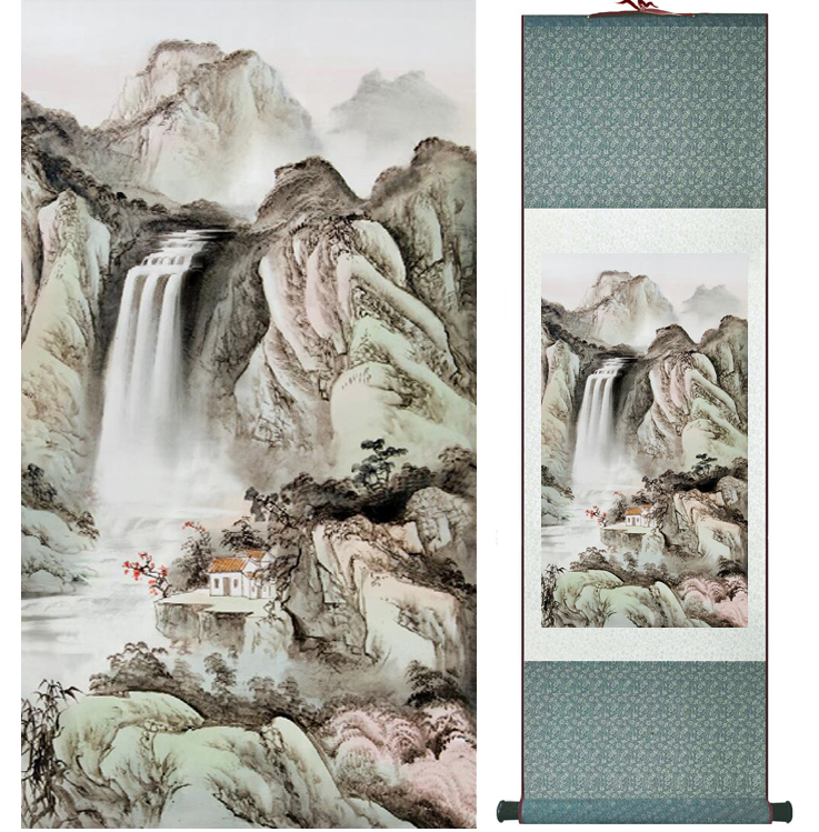 landscape painting Home Office Decoration Chinese scroll painting mountain and River paintingPrinted painting042209