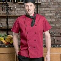 Шеф-повар куртка Рубашка с короткими рукавами форма офицантки Для мужчин Для женщин Ресторан Кухня Отель Суши буфета из дышащего материала ...