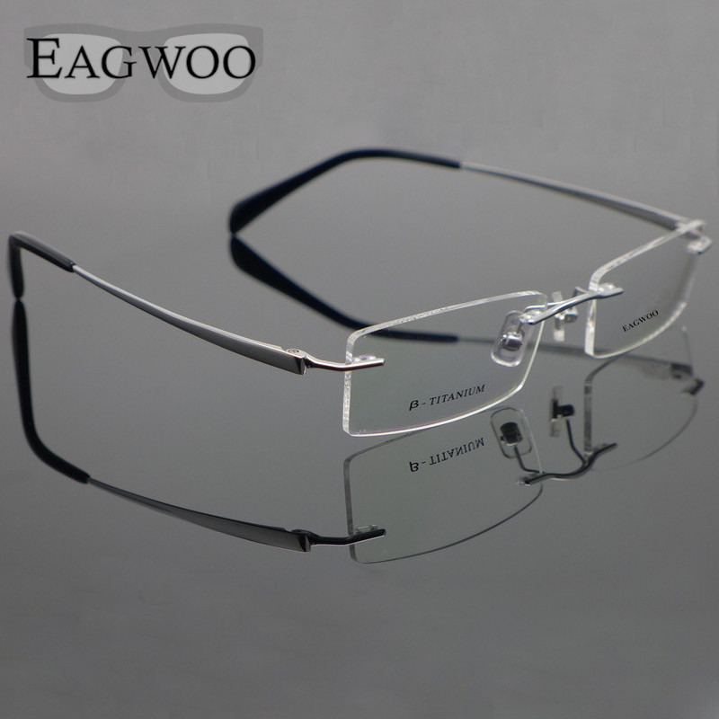 Pure Titanium Eyeglasses Rimless Optical Frame Prescription Spectacle Framallösa Glasögon För Män Eye Eyeglasses 11090 Slim Temple