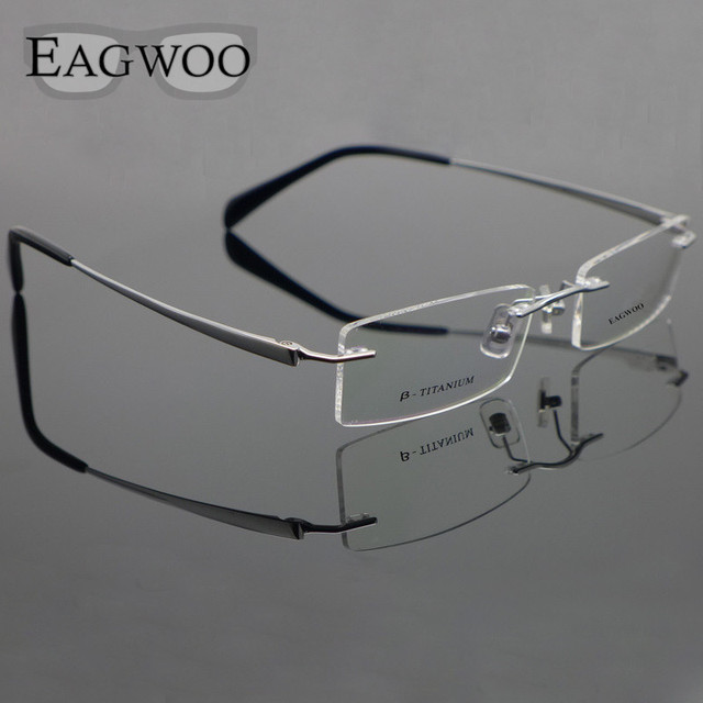 6f25f71200 Pure Titanium Eyeglasses Rimless Optical Frame Prescription Spectacle  Frameless Glasses For Men Eye glasses 11090 Slim Temple