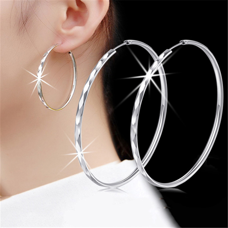 GAGAFEEL European Style Big Earrings 100% Real 925 sterling silver earrings simple style rhombus hoop earrings for women CE0047 bamboo big hoop earrings