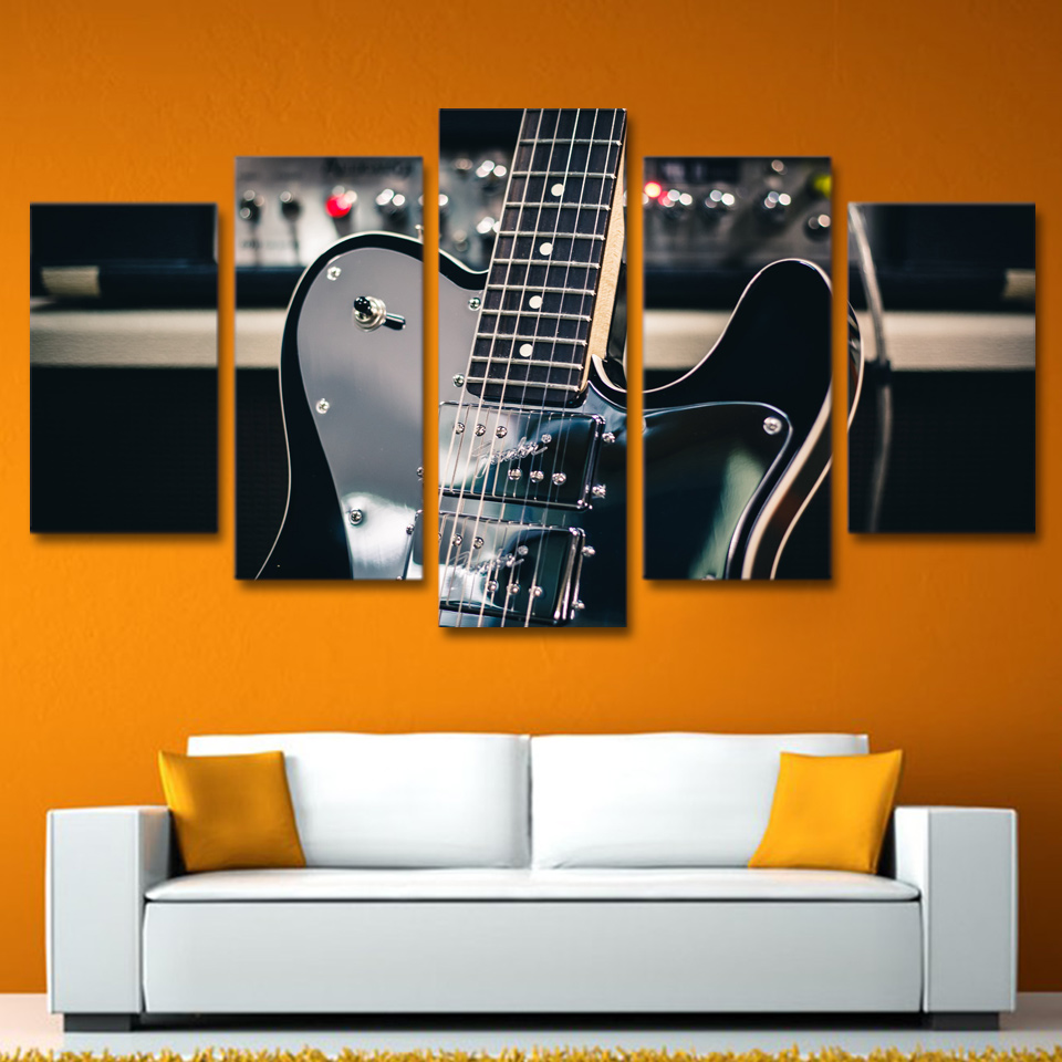5 Piece Canvas Art Wall Art Guitar Instrument Painting Picture Print Home  Decor Living Room Poster Free Shipping XA1247C In Painting U0026 Calligraphy  From Home ...