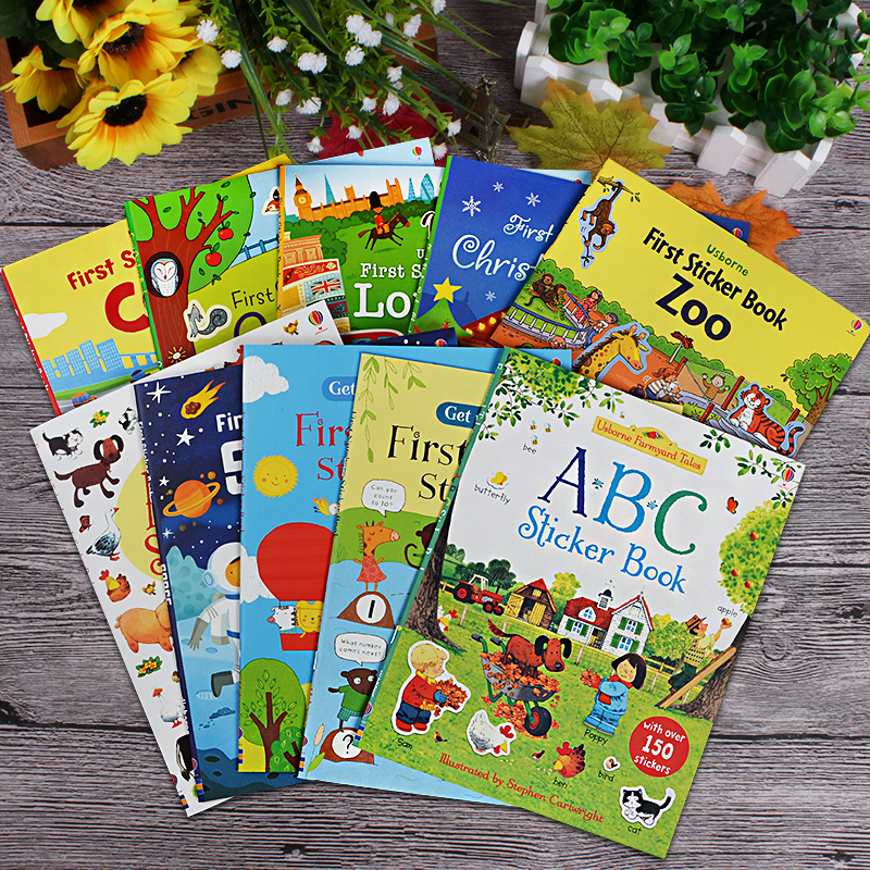 5 Books/set Usborne Children English Picture Sticker Book Colouring Educational Books Kids Dressing Up/Christmas/cars Stickers
