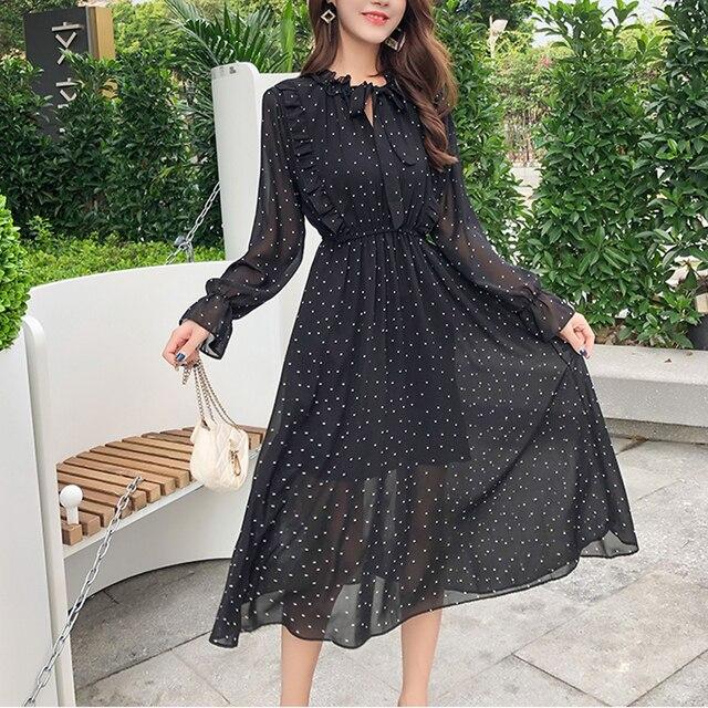 Elegant Dot Print Flare Sleeve Women Long Dresses Spring 2019 Ruffle Patchwork Lace-up Chiffon Dress Party Ladies Black Dress