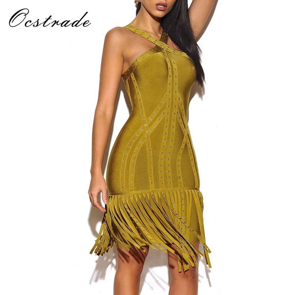 Ocstrade 2017 New Dress Bandage Rayon High Quality Women Olive green Halter Sleeveless Metals Fashion Tassel Bandage Dress