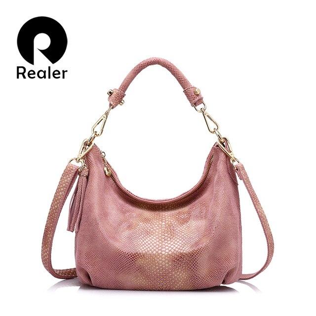 Женская сумка через плечо из натуральной кожи с кисточкой REALER