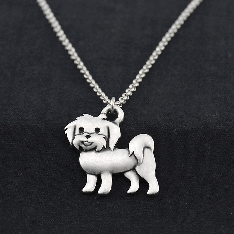 Vintage Silver Boho Maltese Dog հմայքը կախազարդ Choker - Նորաձև զարդեր - Լուսանկար 2