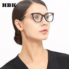 1992cd984 HBK Senhoras Armações de Óculos Olho de Gato Mulheres Óculos Ópticos 2019  Novo Luxo Diamante Decoração Óculos Limpar Óculos de C..
