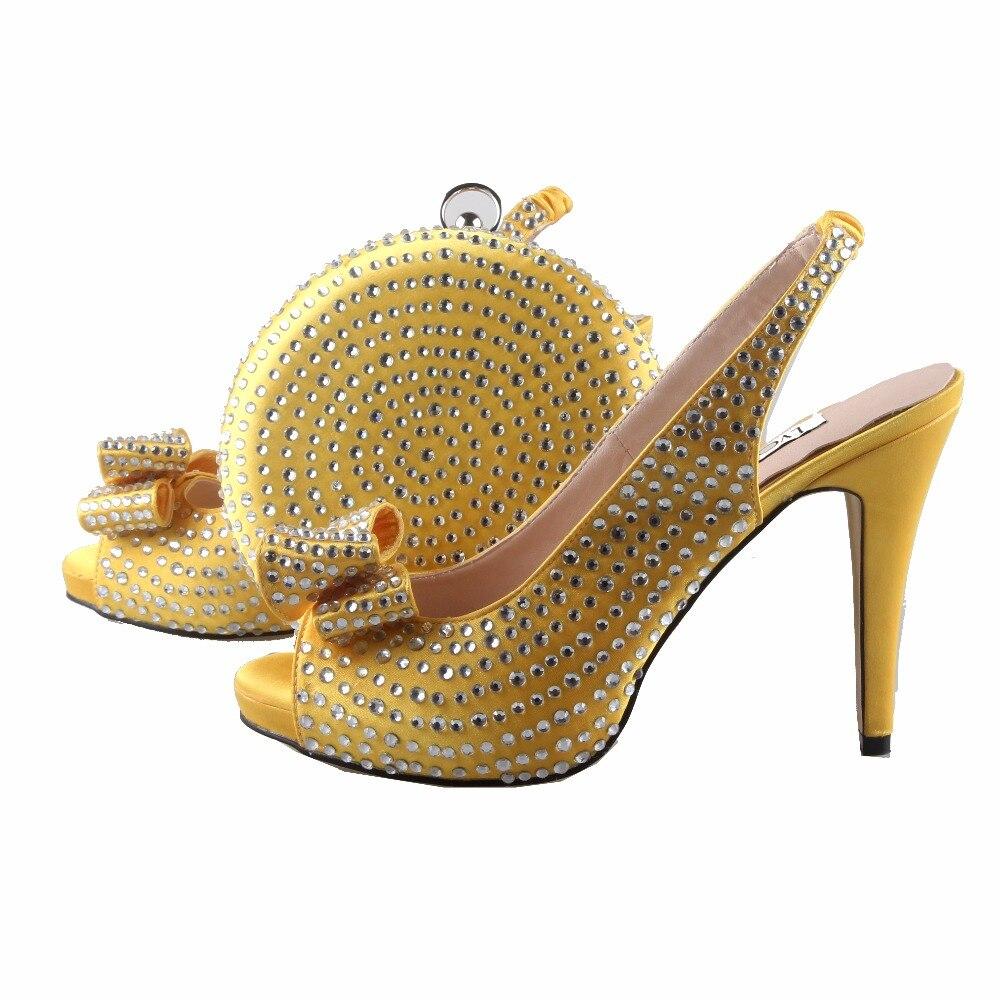 BS779 Custom Handgemaakte Geel Kristal Boog Afrikaanse Vrouwen Schoenen En  Tas Set Slingbacks Vrouwen Bruids Schoenen 2bdc256acccd