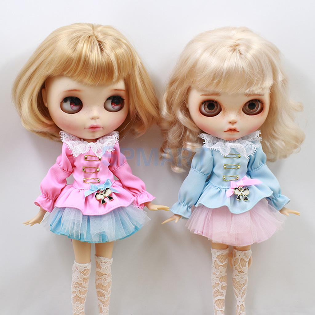 2Sets Doll Puff Sleeve Top Clothes + Skirt + Stockings Socks Clothing Costume Outfits Set for 1/6 Blythe Dolls Accessories Gifts 1pc long sleeve shirt for blythe dolls base shirt clothes for barbie blouse momoko doll clothes 1 6 doll accessories