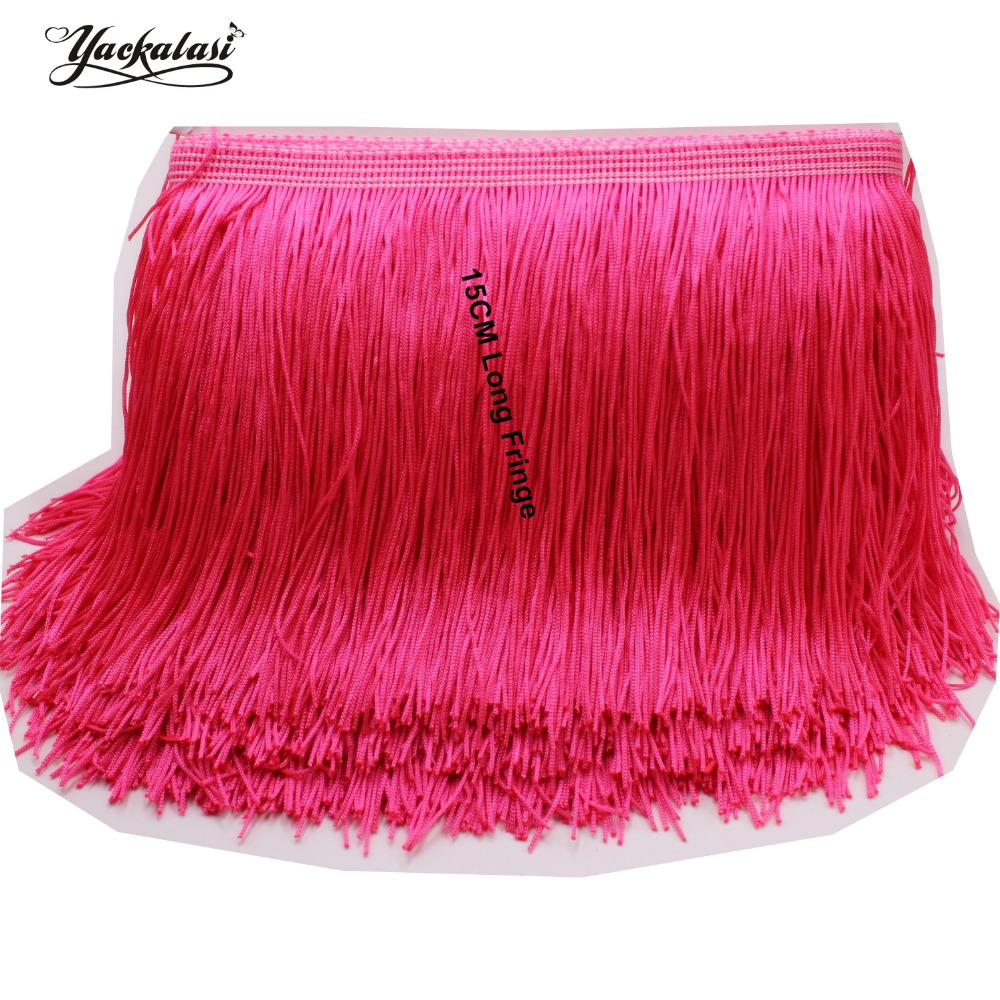 YACKALASI 10 Meters/Lot Fringe Tassel Latin Dress Macrame Trimming Lace  Soft Polyester Flour Color Single Banded 15CM Long