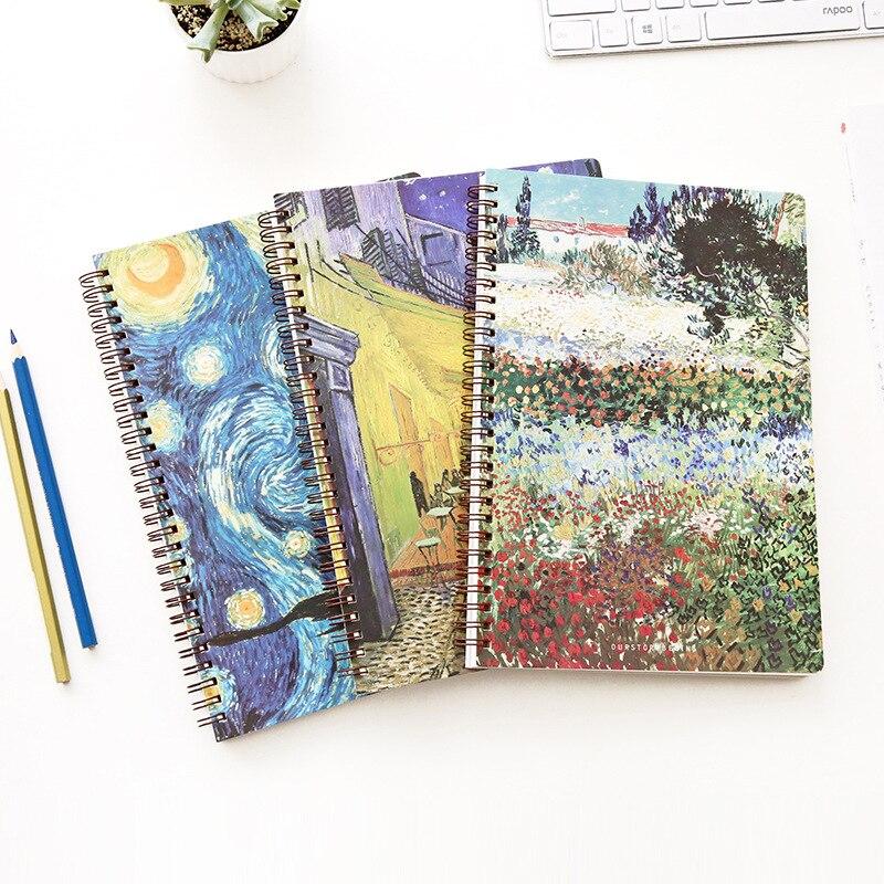 B5 Spiral Notebook Paper Planner Bullet Journal Agenda School Diary Note Book Van Gogh Painting Starry Sky Memo Diary Travelers