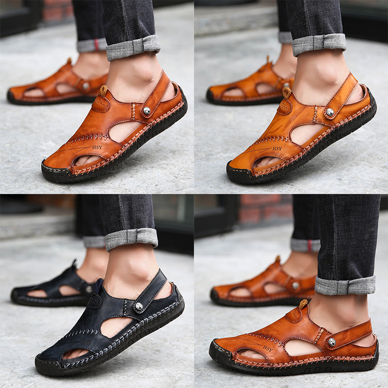 ZUNYU New Casual Men Soft Sandals Comfortable Men Summer Leather Sandals Men Roman Summer Outdoor Beach Sandals Big Size(China)