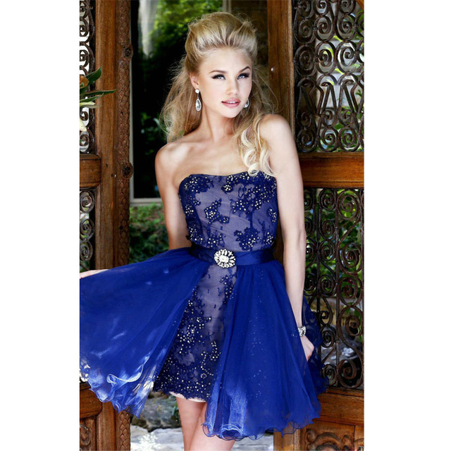 Royal Blue Two Piece Short Prom Dresses Strapless Lace Best Selling ...