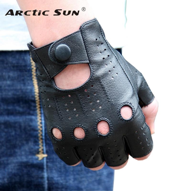 Kulit asli Sarung Tangan Semi-jari Laki-laki Gaya Bernapas Lubang - Aksesori pakaian - Foto 1