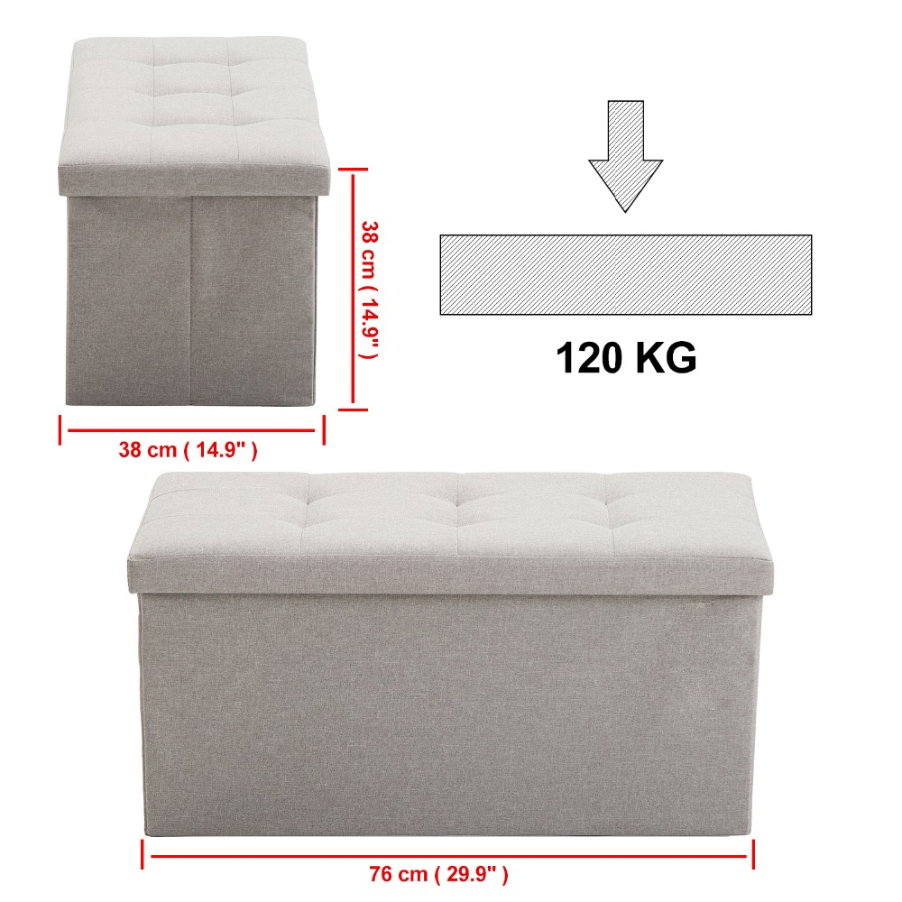 Samincom 30L x 15W x 14.17H Classics Foldable Tufted Storage Bench Dark Gray,Light Gray,Beige Ottoman Home StoolSamincom 30L x 15W x 14.17H Classics Foldable Tufted Storage Bench Dark Gray,Light Gray,Beige Ottoman Home Stool
